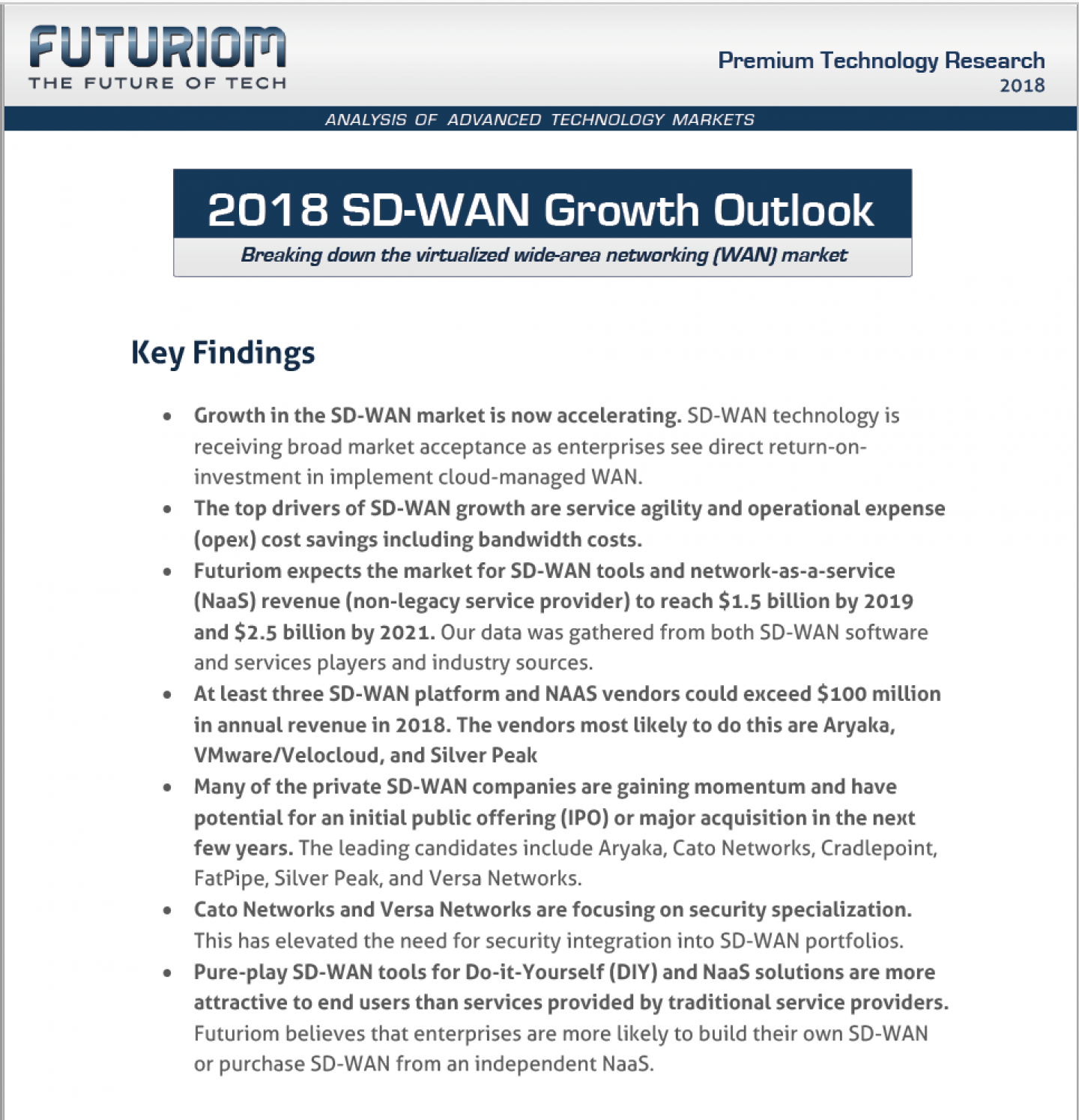 The 2018 SD-WAN Growth Outlook Is Here! - Futuriom